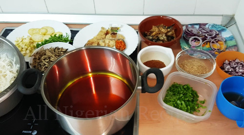 igbo abacha ingredients ready