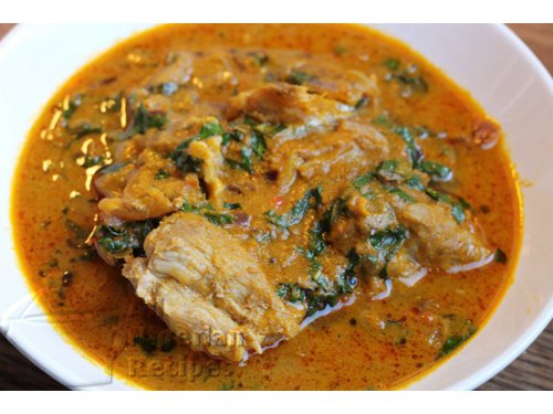 Banga soup is commonly eaten with various foo foo recipes – Pounded Yam,