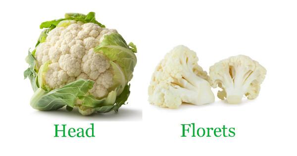 cauliflower head florets