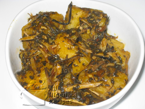 yam porridge with bitterleaf